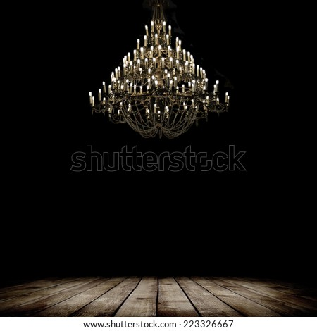 Image of grunge dark room interior with wood floor and chandelier. Background - stock photo