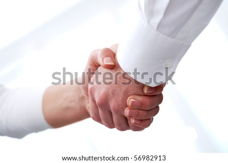 Image of handshaking of business partners after signing contract - stock photo