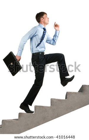 Image of happy businessman running upstairs - stock photo