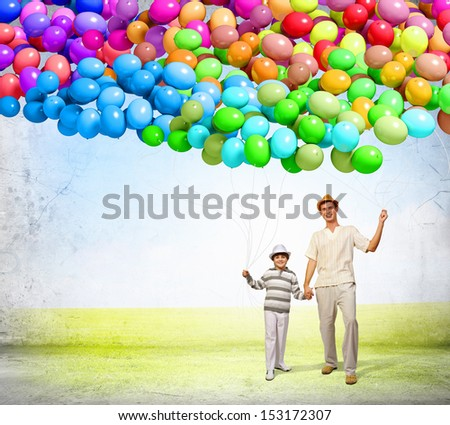 Image of happy father with his son - stock photo
