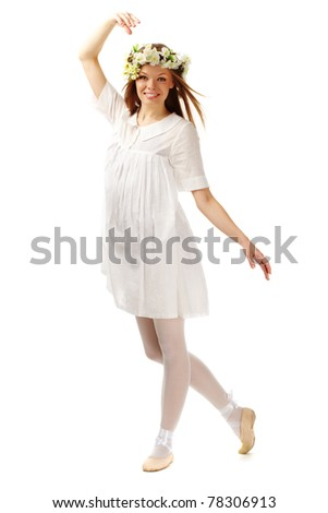 Image of happy female with floral wreath on head over white background - stock photo
