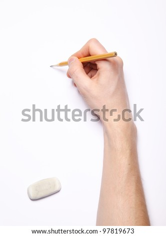 Image of human hand with pencil and eraser on white - stock photo
