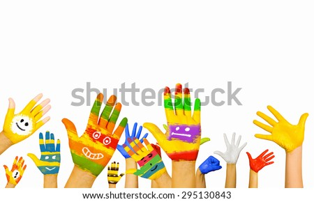 Image of human hands in colorful paint with smiles - stock photo