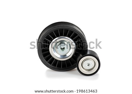 Image of Image of two pulleys isolated on white - stock photo