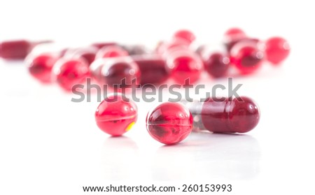 Image of isolated pills different colors close up. - stock photo
