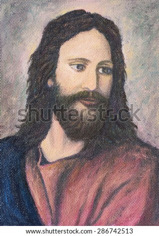 image of Jesus Christ, original oil painting on canvas - stock photo