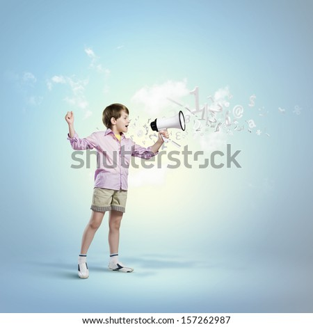 Image of little cute boy shouting in megaphone - stock photo