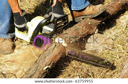 Image of male cutting wood with chainsaw - stock photo