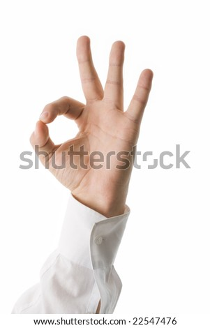 Image of male hand showing sign of okay - stock photo