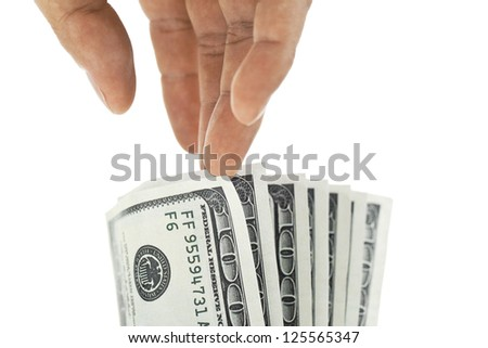 Image of man hand picking a dollar isolated on white background - stock photo
