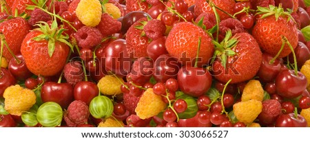 image of many ripe and delicious berries  closeup - stock photo