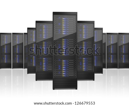 Image of many server racks. Isolated on white background - stock photo