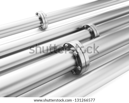 Image of metal pipes, industrial piping delivery of fuel or water - stock photo