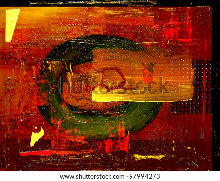 Image of Mixed media Oil Painting With fused Glass - stock photo
