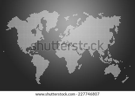 Image of modern optimally dotted world map illustration - stock photo