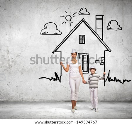 Image of mother and son in house. Mortgage concept - stock photo
