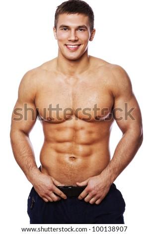 Image of muscle man posing - stock photo