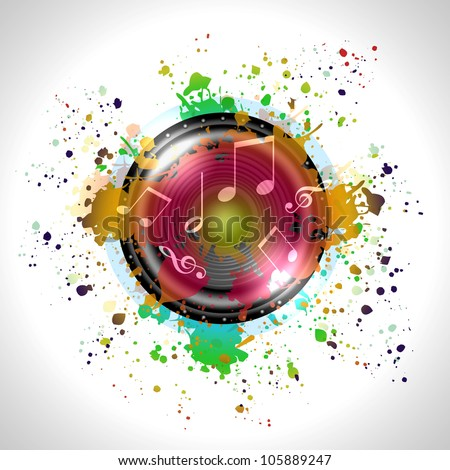 Image of music speaker against colourful background - stock photo