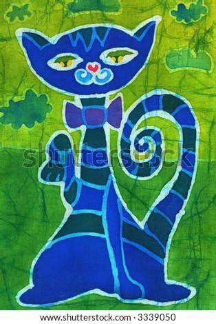 Image of my artwork with a blue cat - stock photo
