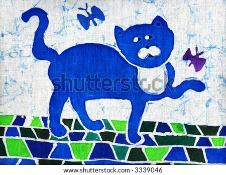 Image of my artwork with a blue cat with butterfly - stock photo