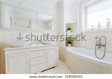 Image of new elegant bathroom with white fittings - stock photo