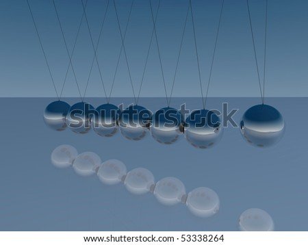 Image of Newton's Cradle on a blue background. - stock photo