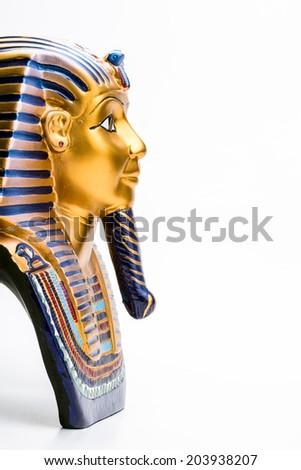 image of of King Tutankhamun, on white background - stock photo