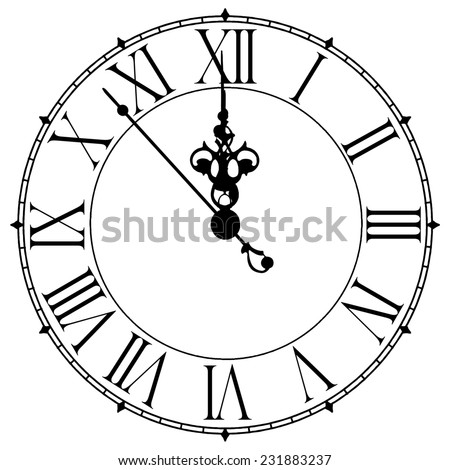 Image of old antique wall clock 7 seconds to midnight or noon - stock photo