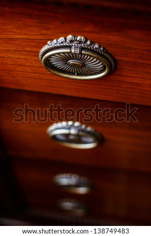 Image of old brown cupboard - stock photo