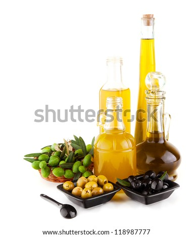 Image of olive oil still life isolated on white background, natural olives antioxidant in glass bottle and fresh olive fruit on the plate, healthy salad dressing, organic nutrition, italian cuisine - stock photo