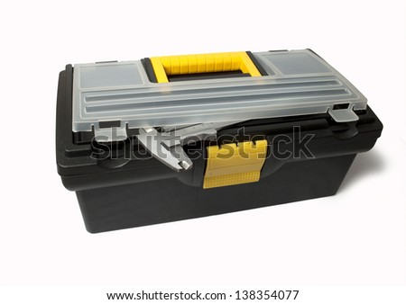 Image of open tool box with tools on white background - stock photo