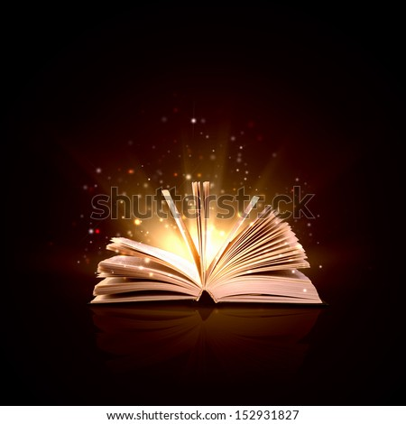 Image of opened magic book with magic lights - stock photo