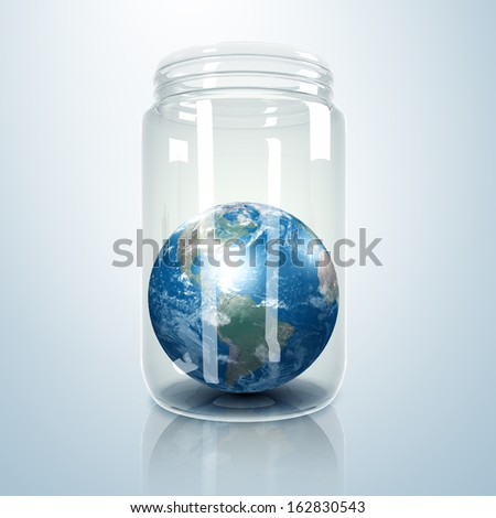 Image of our planet earth inside a glass jar. Elements of this image furnished by NASA. - stock photo