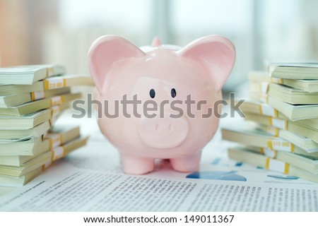 Image of pink piggy bank and stacks of dollar bills - stock photo
