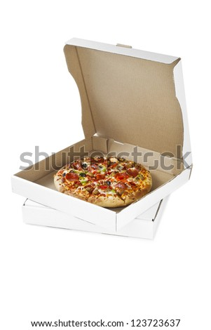Image of pizza on the box isolated on white background - stock photo