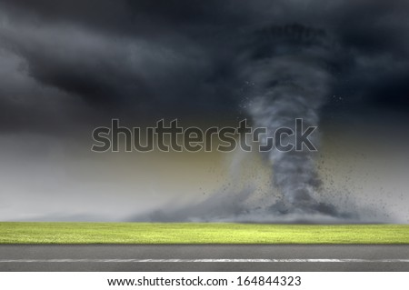 Image of powerful huge tornado twisting on road - stock photo