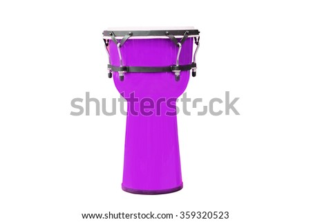 Image of red ethnic african drum under the white background - stock photo