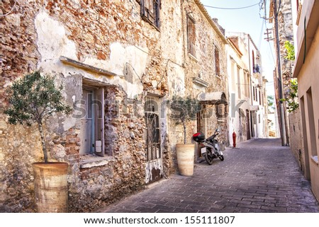 Image of romantic old street in Greece. Chania, Crete. - stock photo