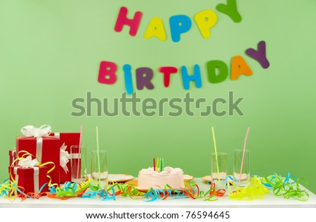 Image of room prepared for birthday party - stock photo