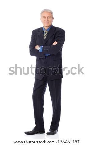 Image of senior businessman, isolated on white - stock photo