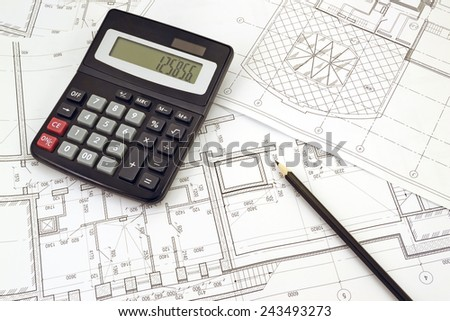 Image of several drawings for the project engineer jobs and calculator - stock photo