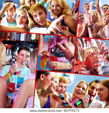 Image of several happy friends having great party - stock photo