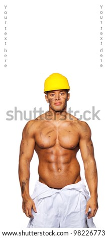 Image of sexy builder with helmet - stock photo