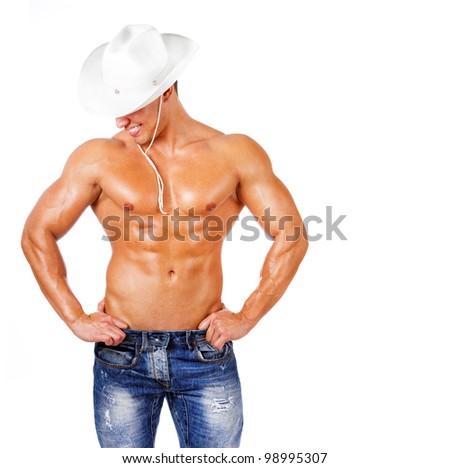 Image of sexy cowboy posing - stock photo