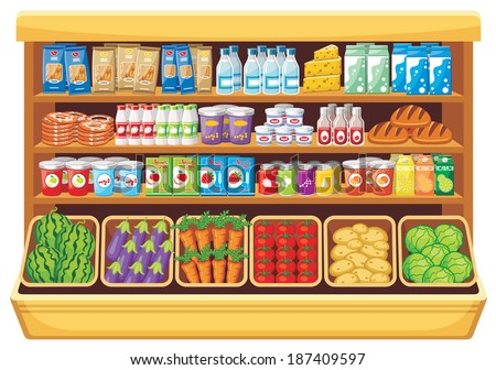 Image of shelves with different products in the supermarket. Raster illustration.  - stock photo