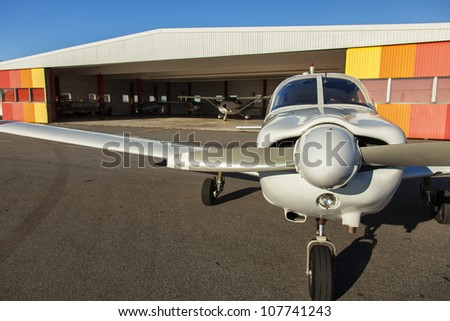Image of small private airplanes waiting for take off - stock photo
