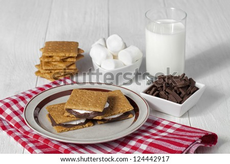 Image of smore in plate with glass of milk, marshmallows, crackers and chocolate - stock photo