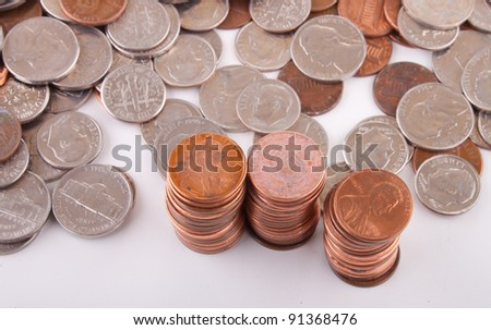 Image of stacked pennies. - stock photo