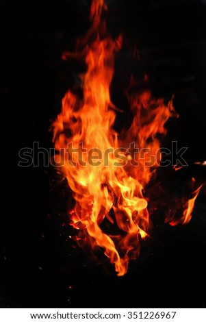 image of stone charcoal fire on bugle as abstract background - stock photo