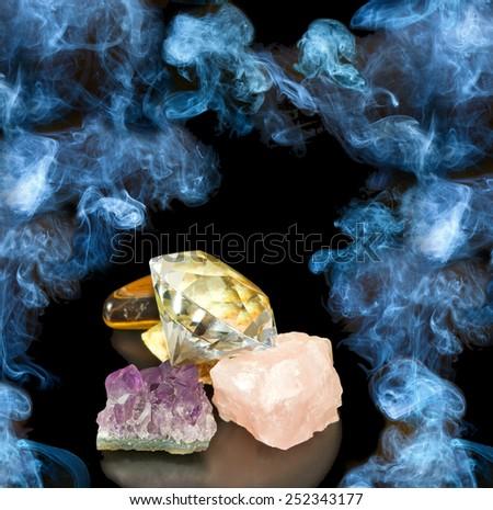 image of stones on  smoke background - stock photo